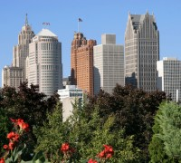 Detroit City Buildings With Trees